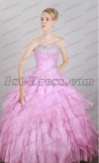 Sweet Pink Ruffles Cheap Quinceanera Ball Gown