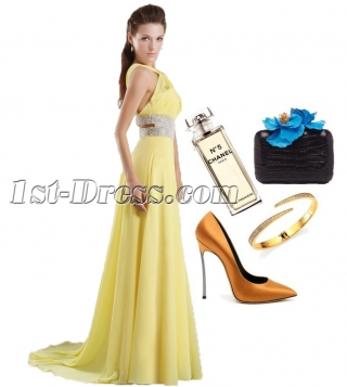 Yellow Long Homecoming Petite Prom Dresses with Backless IMG_9685