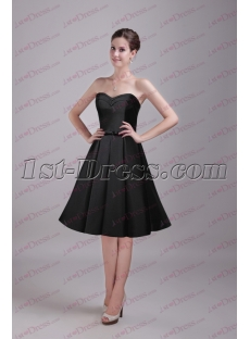 Black Simple Knee Length Bridesmaids Gown