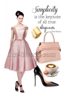 Classical Dust Rose Off Shoulder Short Prom Dress