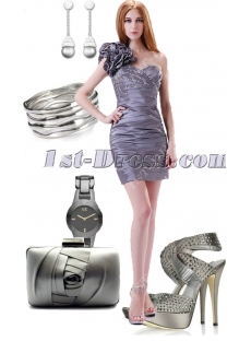 Elegant Silver One Shoulder Graduation Gown