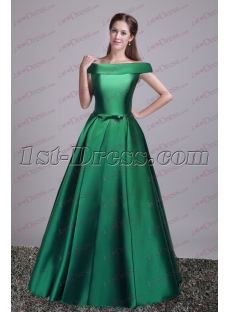 Hunter Green Off Shoulder Military Party Dress