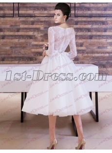 Middle Sleeves Lace Short Bridal Gown for 2017