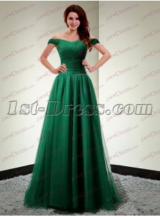 Pretty Hunter Green Off Shoulder Long Evening Dress