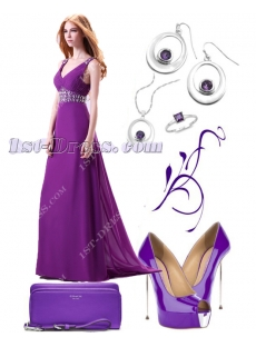 Purple Plunge V-neckline Chiffon 2014 Evening Gown