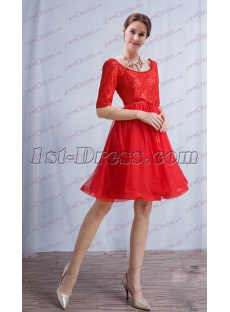 Red 1/2 Long Sleeves Short Prom Dress 2017