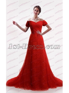 Red Lace A-line Bridal Gown 2017