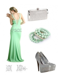 Sage Green Long Sexy Evening Dress