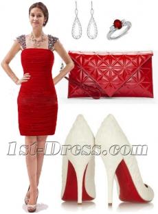Simple Red Mini Prom Dresses 2016