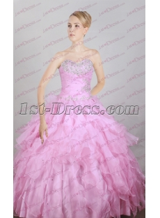 Sweet Pink Ruffles Cheap Quinceanera Ball Gown