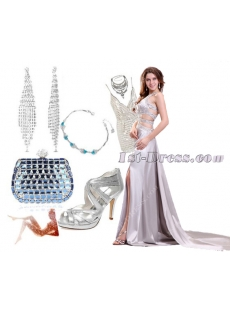 Unique Jeweled Silver Sexy Pageant Dresses with Train