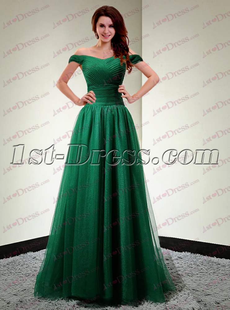 f9618847284 Pretty Hunter Green Off Shoulder Long Evening Dress 1st-dress.com