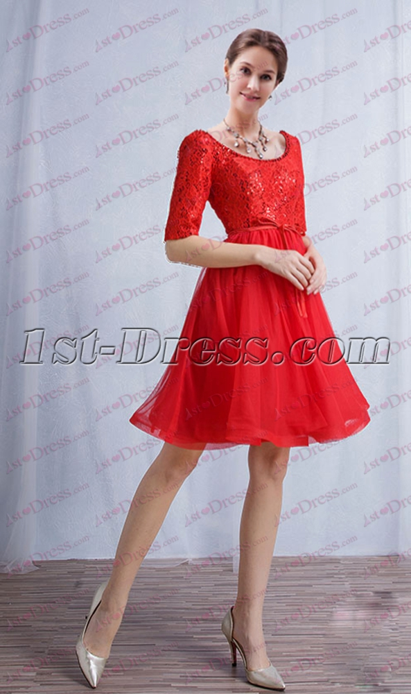 Red 1/2 Long Sleeves Short Prom Dress 2017:1st-dress.com