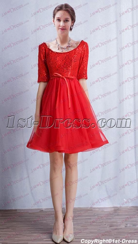 1279350089 Red 1 2 Long Sleeves Short Prom Dress 2017 1st-dress.com