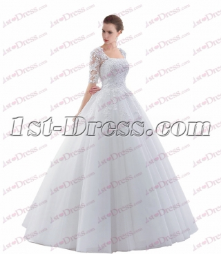 1/2 Long Sleeves Ball Gown Wedding Dress with Keyhole 2017