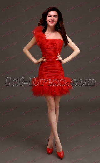 Beautiful Mini Red One Shoulder Sweet 16 Dress