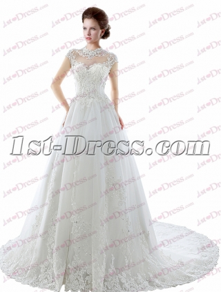 Illusion Back Lace Wedding Dress with Cap Sleeves
