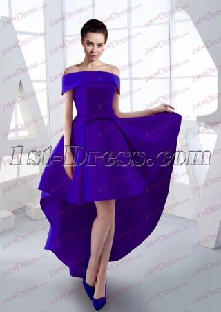 Sweet Royal Blue Off Shoulder High Low Prom Dress 2017