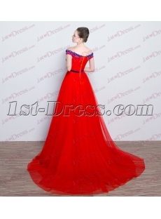 2017 Red Off Shoulder Wedding Dress for Sale