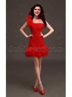 Beautiful Mini Red One Shoulder Sweet 16 Dress