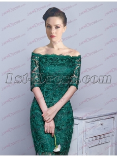 Green Off Shoulder Lace Mother of Bride Dress