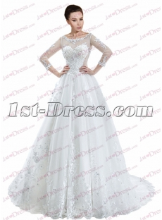 Illusion Long Sleeve Wedding Dress 2017 with Keyhole
