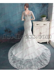 Modest 1/2 Long Sleeves Lace Bridal Gown for 2017