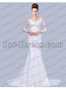 Off Shoulder Long Sleeve Sheath Lace Wedding Dress 2017