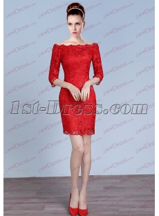 Red 1/2 Long Sleeves Short Lace Prom Dress