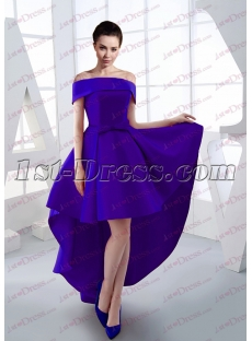 Sweet Royal Blue Off Shoulder High Low Prom Dress 2017