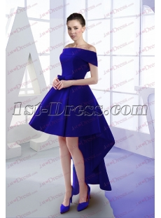 dae176b5dc00 Sweet Royal Blue Off Shoulder High Low Prom Dress 2017 1st-dress.com