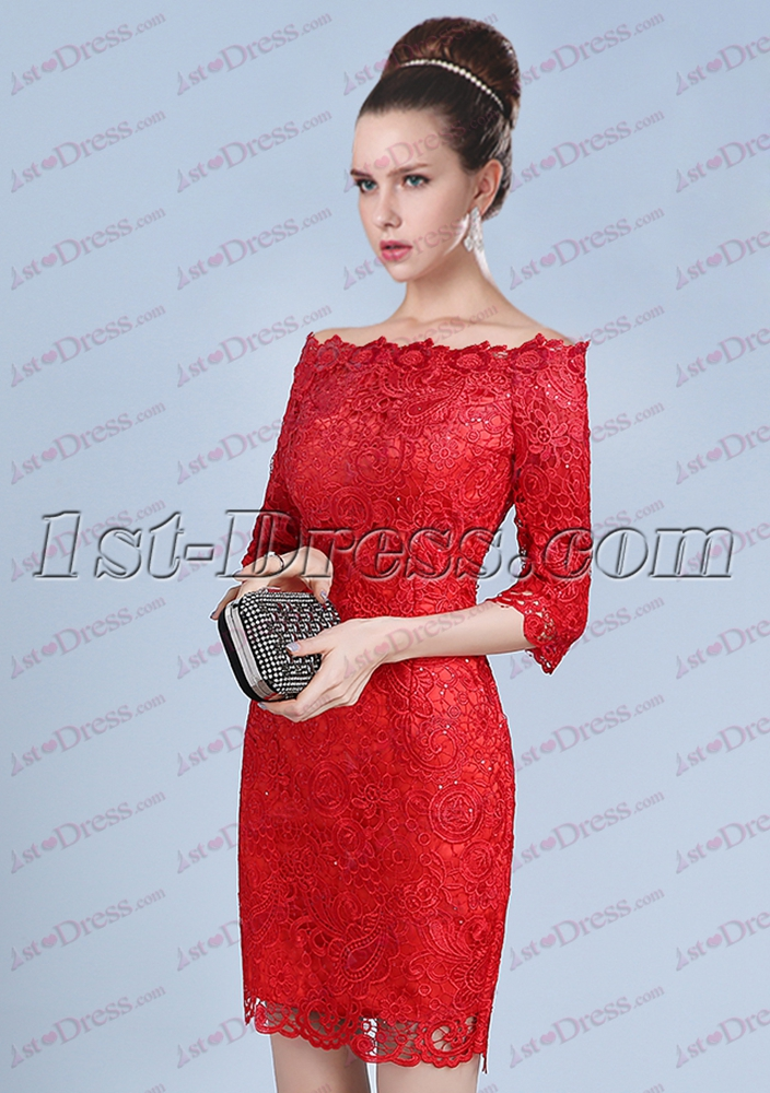 Red 1/2 Long Sleeves Short Lace Prom Dress:1st-dress.com