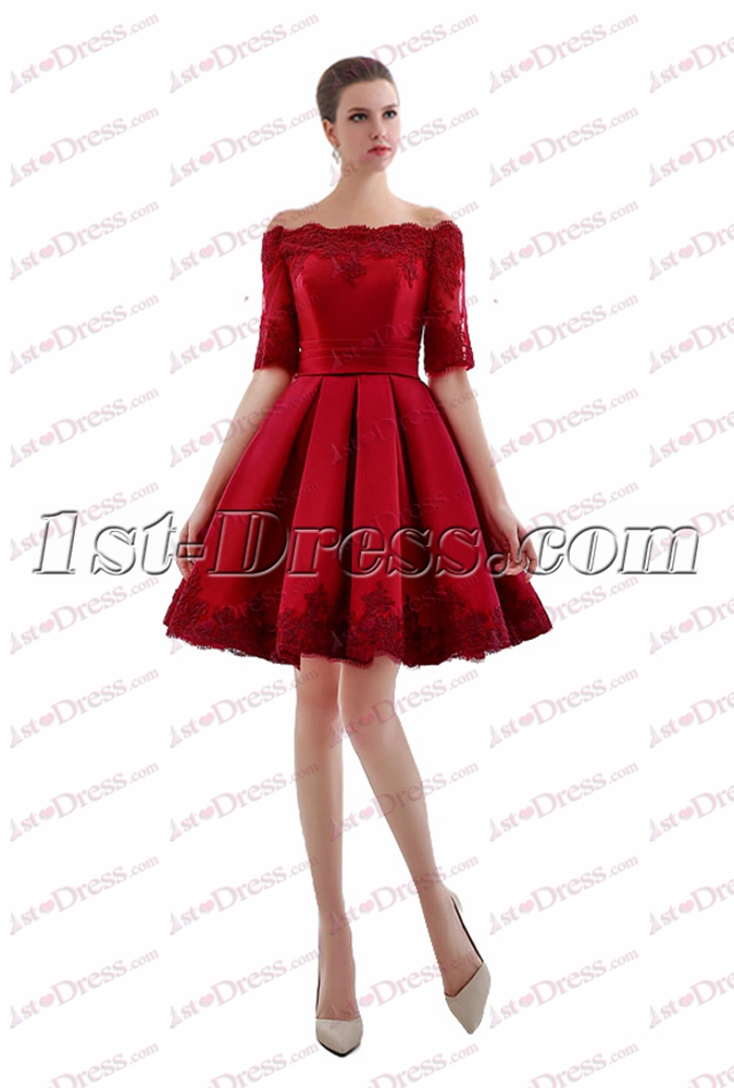 Red Off Shoulder Short Bridal Gown for 2017 Spring:1st-dress.com