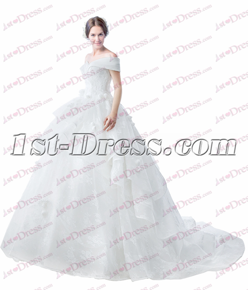 Romantic Off Shoulder Ball Gown Wedding Dress 2017 with Train:1st ...