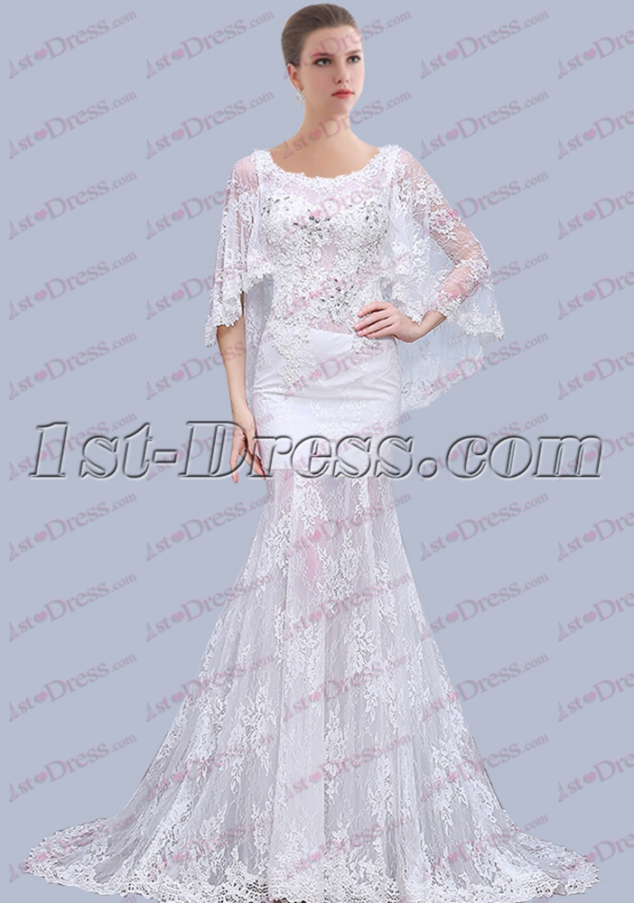Unique Beach Lace Wedding Dress With Cape 1st Dress Com