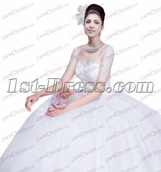 Elegant Illusion Short Sleeves Wedding Dress with Keyhole
