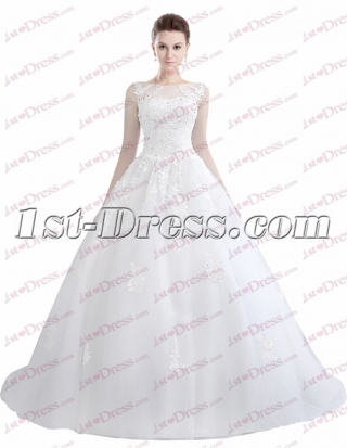 Illusion Neckline Ball Gown Wedding Dress 2017