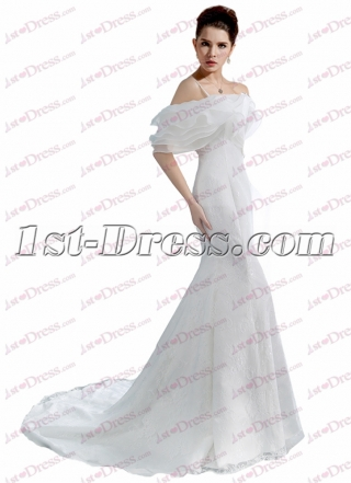 Off Shoulder Sheath Wedding Dress with Train