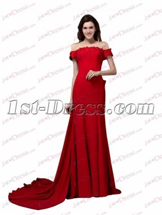 Sexy Red Off Shoulder Long Cheap Evening Dress