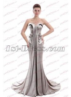 Charming Strapless Silver Sheath Mother of Groom Dress