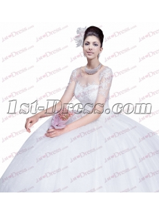 Elegant Illusion Short Sleeves Wedding Dress with Keyhole
