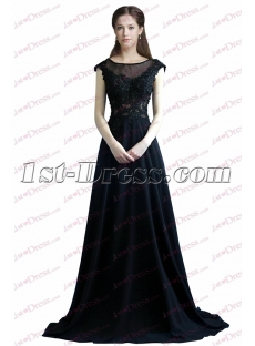 Elegant Navy Blue Evening Dress with Keyhole