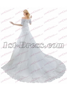 Modest Off Shoulder Lace Wedding Dress with Sleeves