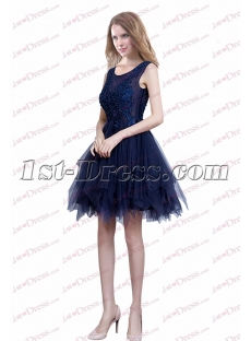 Pretty Navy Blue Junior Prom Dress with Ruffles