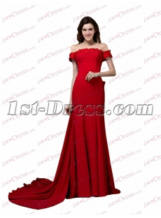 Sexy Red Off Shoulder Long Cheap Evening Dress