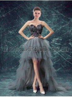 Unique Silver High Low Black Feather Prom Dress