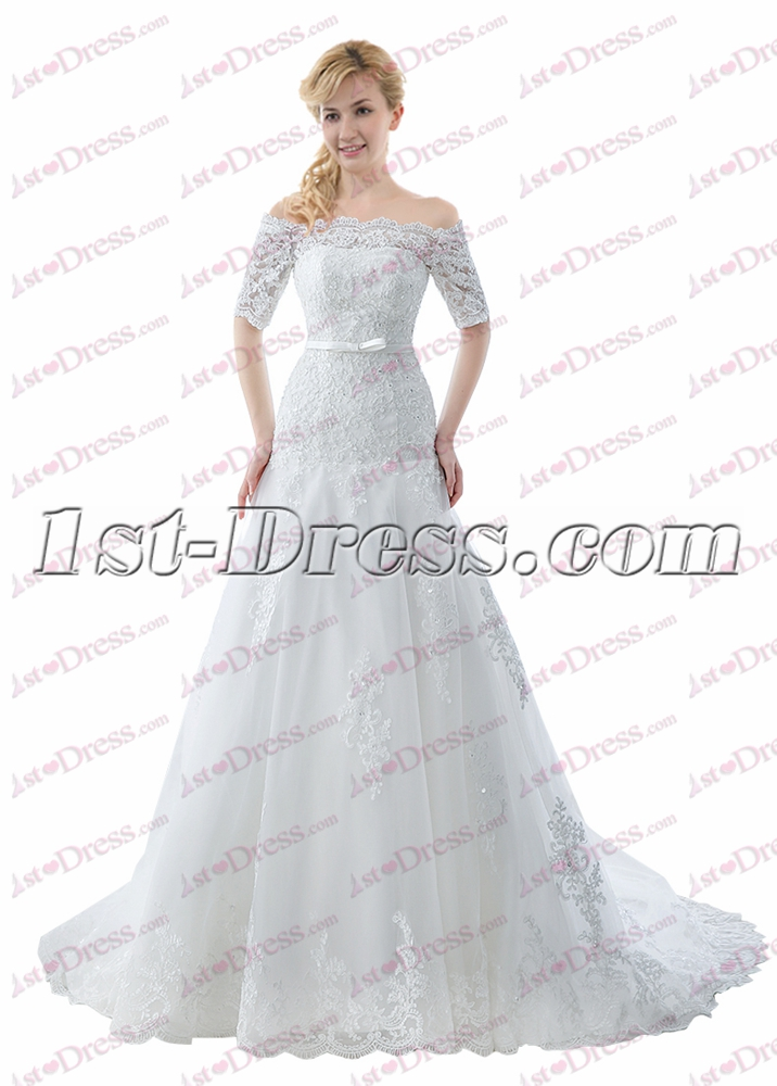 Modest off shoulder lace wedding dress with sleeves 1st for Modest wedding dresses under 500
