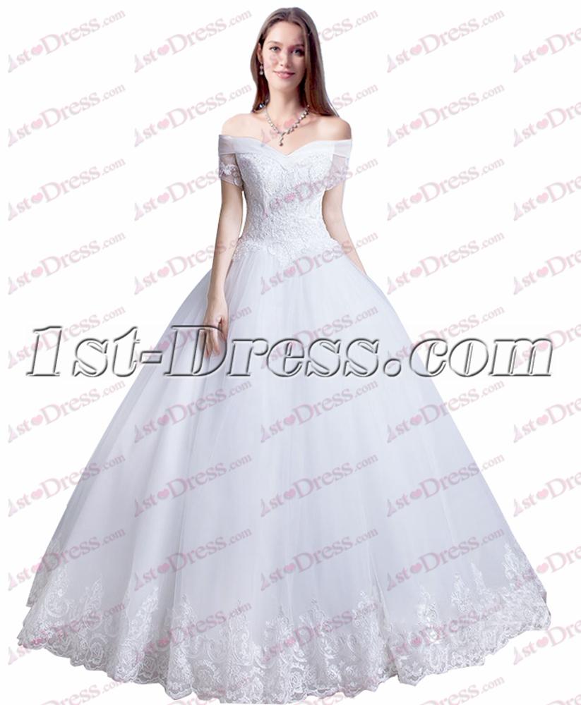 Princess White Off Shoulder Quince Gown Dress:1st-dress.com