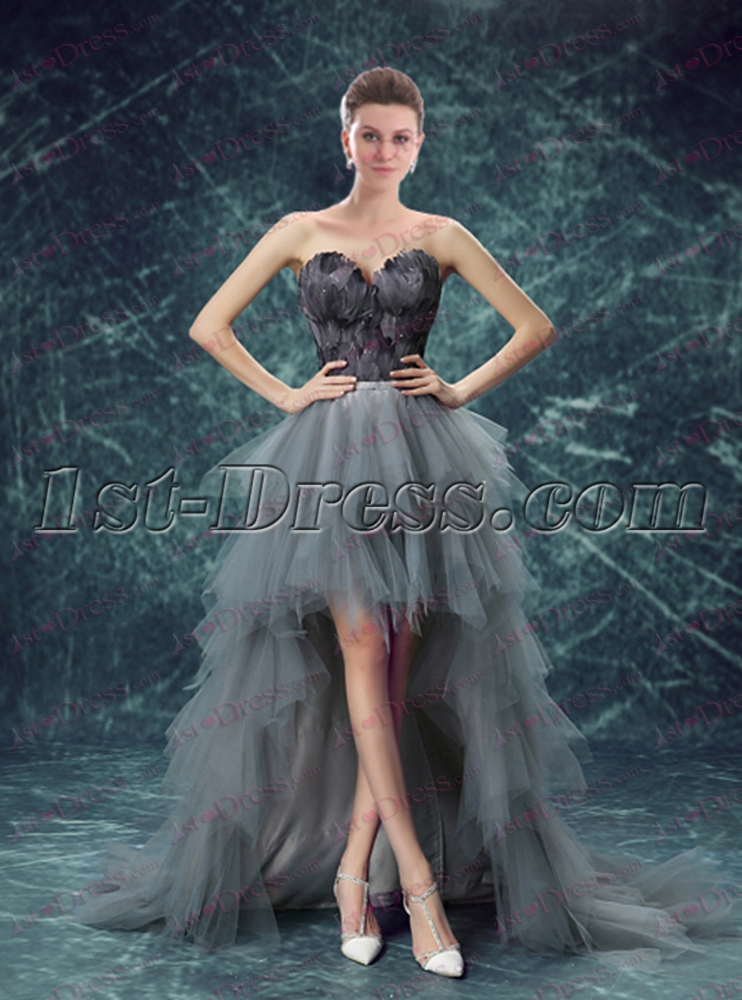 ae8a34cc241cd Unique Silver High Low Black Feather Prom Dress $213.00