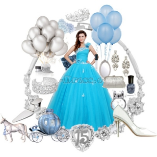 Charming Blue Festa de Quinze Anos Dress with One Shoulder